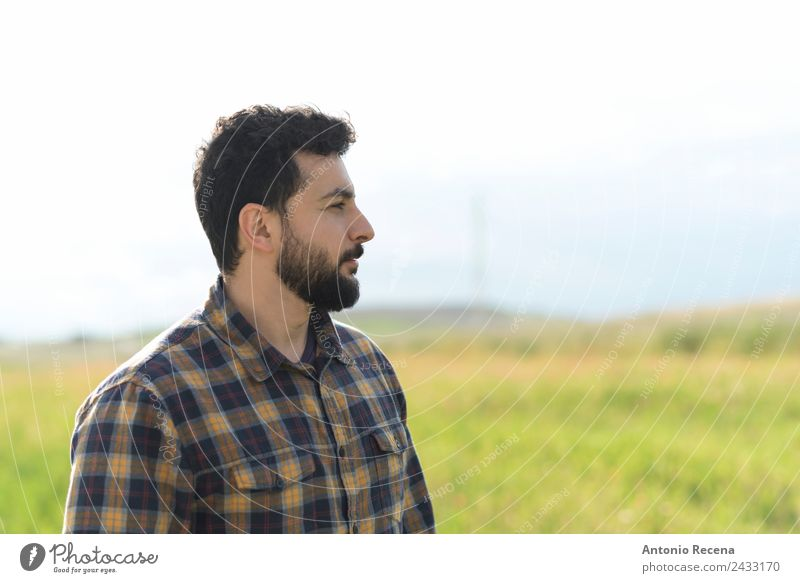 Bearded man profile image looking out of frame Human being Man Adults 1 30 - 45 years Smiling Self-confident Loneliness hipster bearded full beard walking