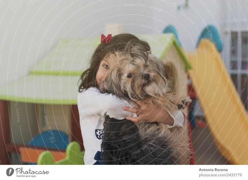 Pet love Lifestyle House (Residential Structure) Child Girl Infancy 1 Human being 3 - 8 years Animal Dog Toys Love Embrace Cute lifestile embracing 5 years old
