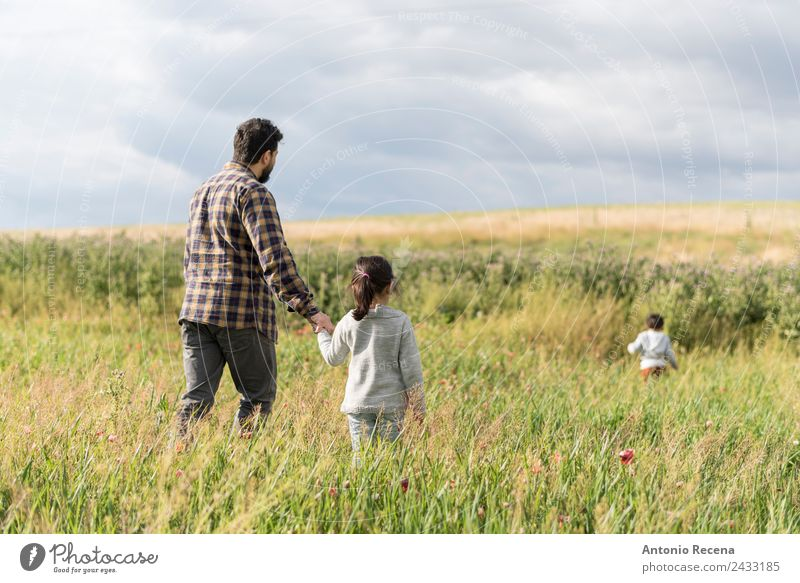 Walking in spring Child Human being Man Flower Girl Adults Meadow Family & Relations Boy (child) Playing Infancy Baby Toddler Parents Father Safety (feeling of)