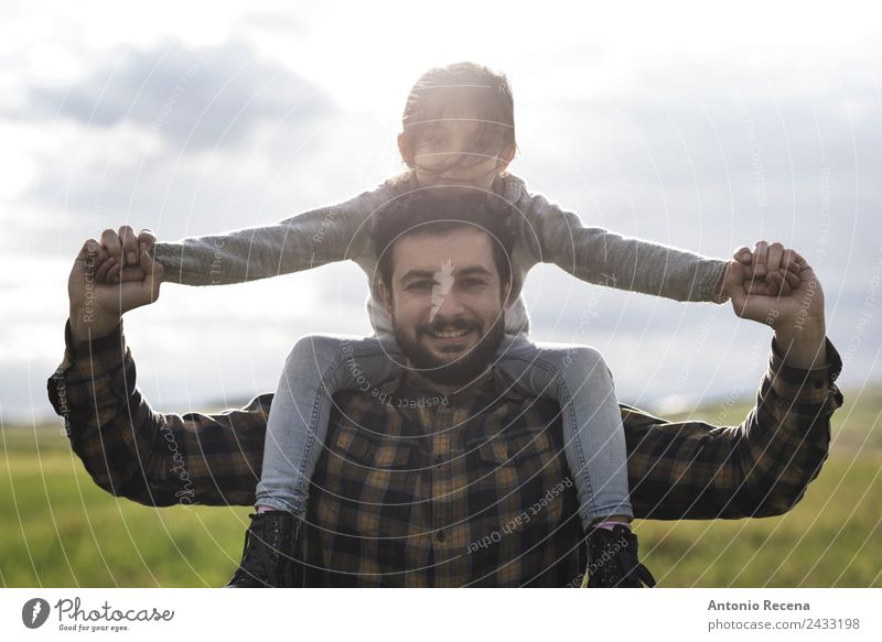 Fatherhood Playing Child Girl Man Adults Parents Family & Relations Infancy 2 Human being 3 - 8 years 18 - 30 years Youth (Young adults) Flower Meadow Embrace