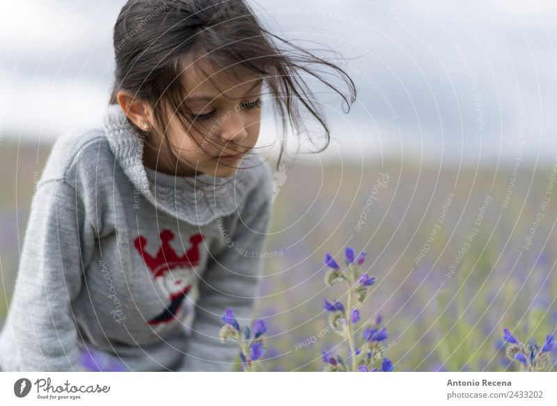 Flowers Human being Child Girl Infancy 3 - 8 years Grass Park Brunette Cute Serene smelling spring 5s 5 years old one field Odor spanish Dark-haired people