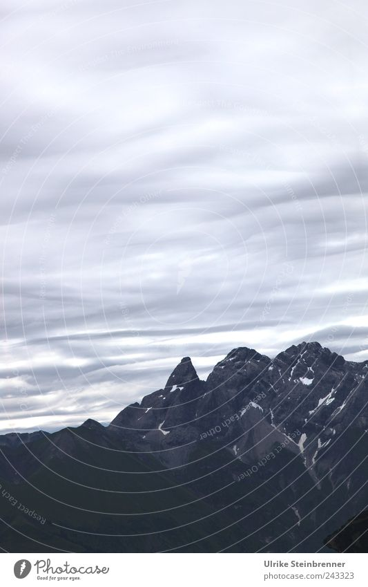 Sky Nature Summer Clouds Calm Loneliness Cold Dark Mountain Above Landscape Environment Gray Tall Rock Large