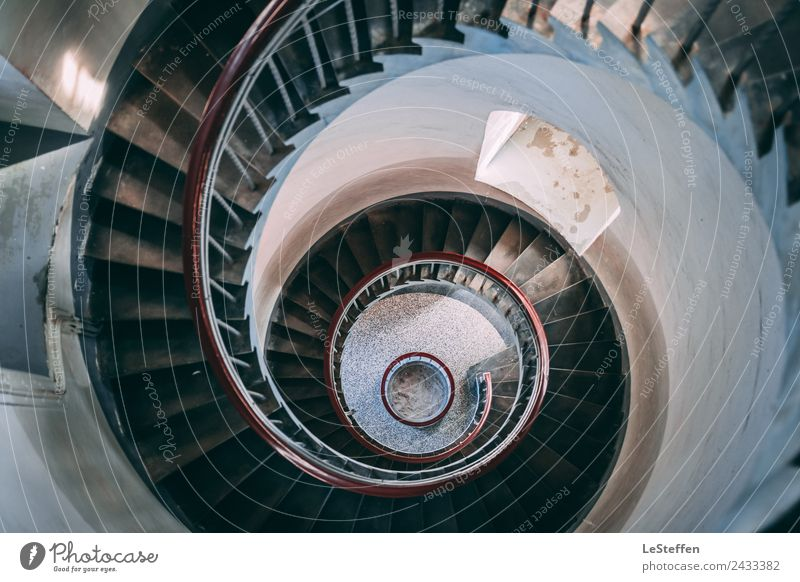 Turbines Stairs Lighthouse Design Interior design Architecture Sunlight Tower Stone Wood Steel Old Esthetic Authentic Historic Above Beautiful Blue Brown Red