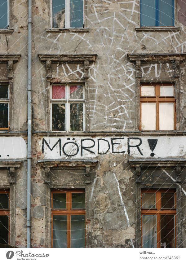 House (Residential Structure) Window Graffiti Building Death Facade Fear Characters Transience Grief Fear of death Decline Force War Text Politics and state