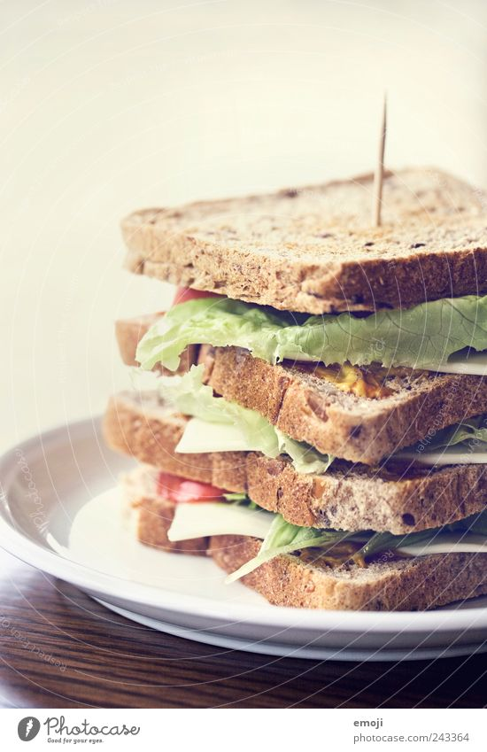 club sandwich Cheese Lettuce Salad Grain Bread Nutrition Lunch Picnic Vegetarian diet Finger food Plate Delicious Large Sandwich Toast Self-made Colour photo