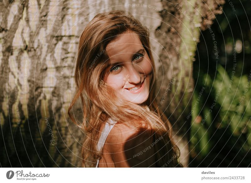 Close up portrait of happy blonde girl Happy Beautiful Face Trip Adventure Human being Young woman Youth (Young adults) Woman Adults 1 18 - 30 years Tree Forest