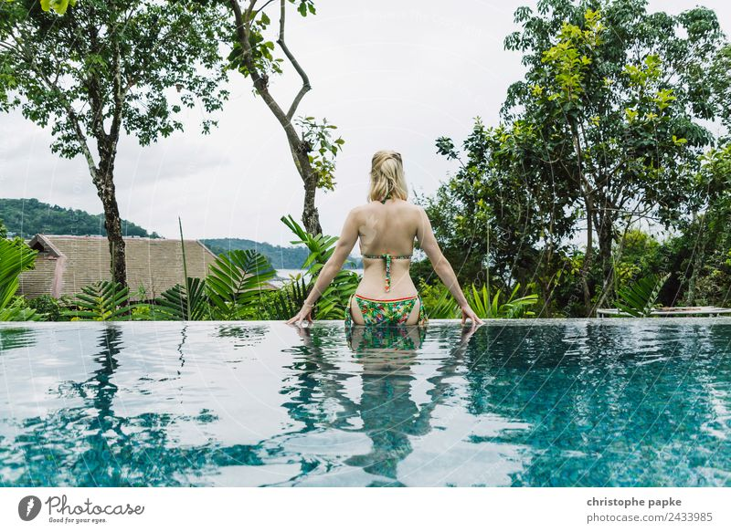 Tropical Feeling Harmonious Well-being Contentment Relaxation Swimming pool Swimming & Bathing Summer Summer vacation Garden Young woman Youth (Young adults)