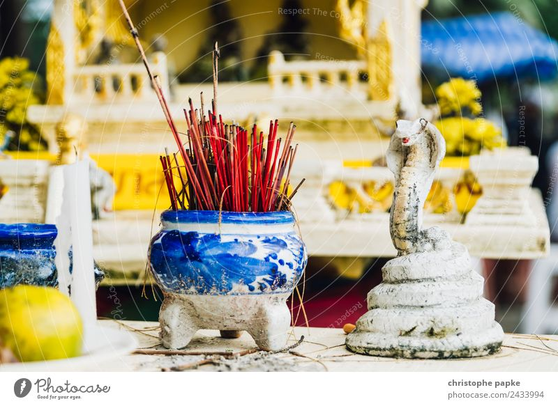 Incense sticks in front of Thai shrine Vacation & Travel Far-off places Summer Summer vacation Culture Authentic Exotic Historic Religion and faith Buddhism