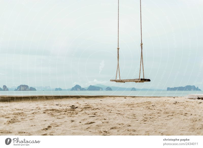 Swing on the beach Contentment Leisure and hobbies Vacation & Travel Far-off places Freedom Summer Summer vacation Beach Ocean Thailand Hang Joy To swing Asia