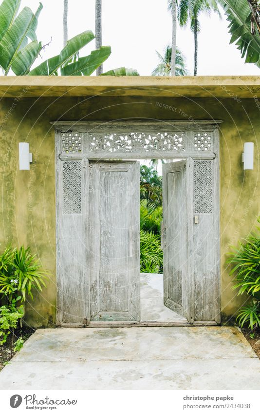 When a door closes... Vacation & Travel Far-off places House (Residential Structure) Garden Beautiful weather Thailand Wall (barrier) Wall (building) Door Old