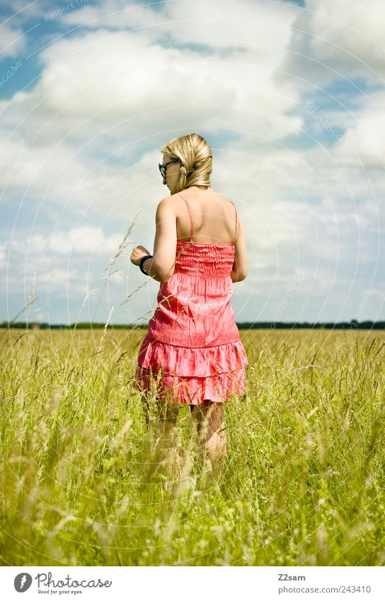 Human being Sky Youth (Young adults) Summer Clouds Relaxation Feminine Freedom Environment Landscape Style Adults Think Contentment Blonde Horizon