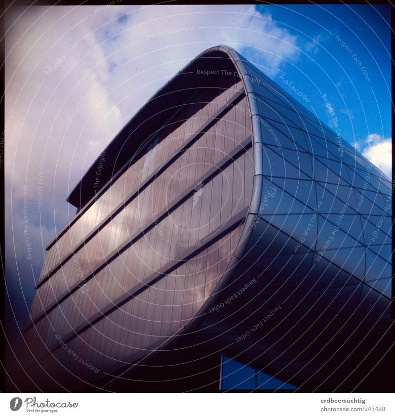 Sky Blue Clouds Architecture Building Glass Glittering Modern Academic studies Future Education Science & Research Leipzig Futurism Tourist Attraction Geometry