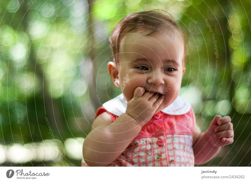 Six months old baby girl outdoors Happy Beautiful Face Child Human being Baby Young woman Youth (Young adults) Woman Adults Infancy 1 0 - 12 months Old Smiling