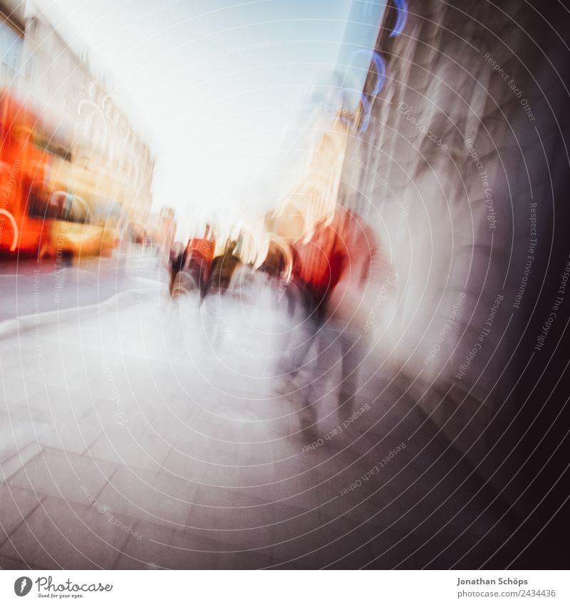 abstract blurred footpath in England Town Downtown Pedestrian precinct Populated Joy Brighton Group Footpath Walking Anonymous Red Europe City life Bus Blur