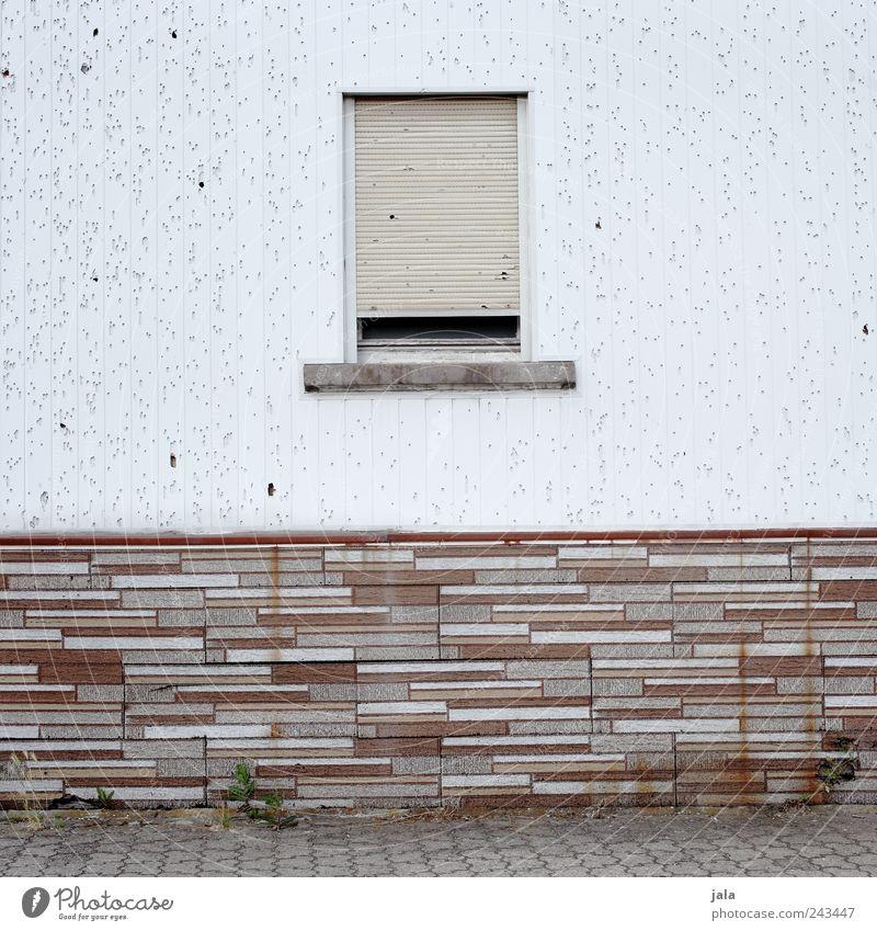 façade Wall (barrier) Wall (building) Facade Window Roller shutter Brick Gloomy Brown Gray White Decline Colour photo Exterior shot Deserted Copy Space left