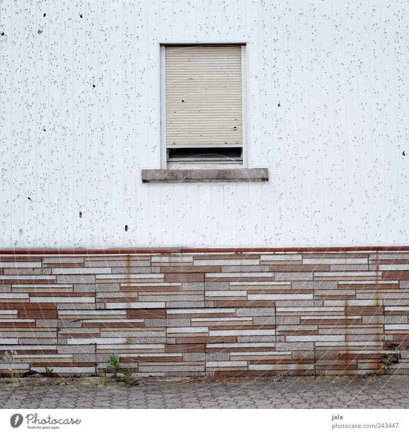 White Window Wall (building) Gray Wall (barrier) Brown Facade Gloomy Brick Decline Roller shutter