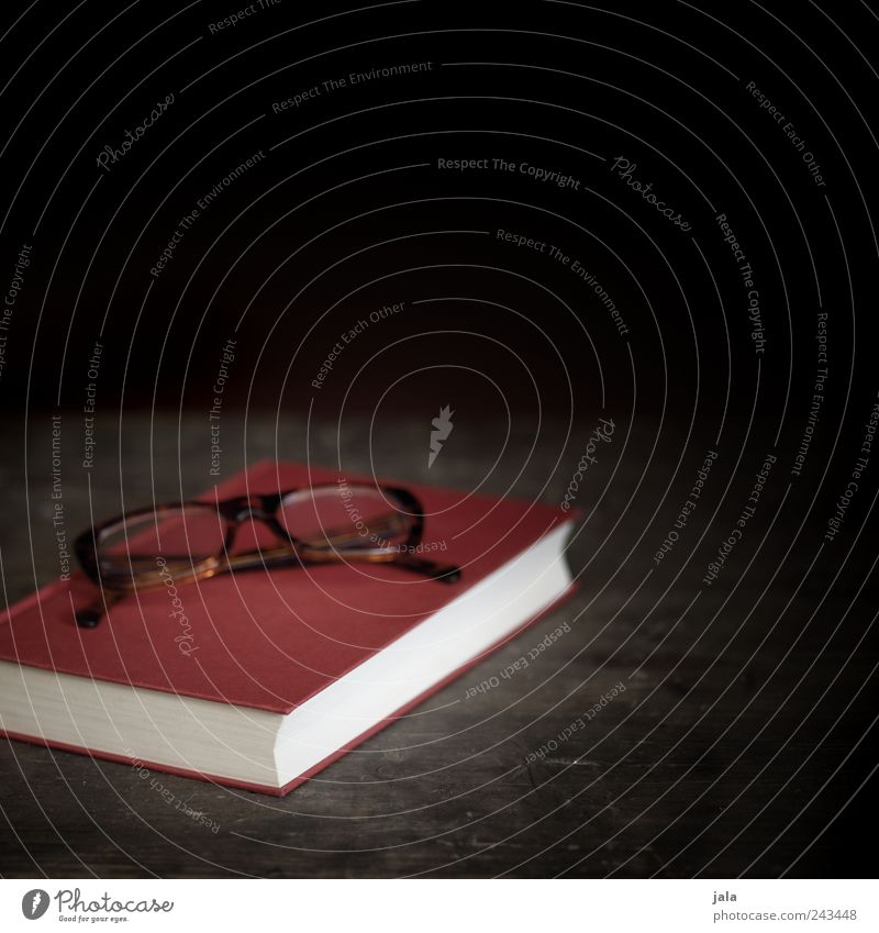 bedtime reading Book Eyeglasses Spectacle frame Wood Simple Brown Red Black Colour photo Interior shot Deserted Copy Space right Copy Space top Day