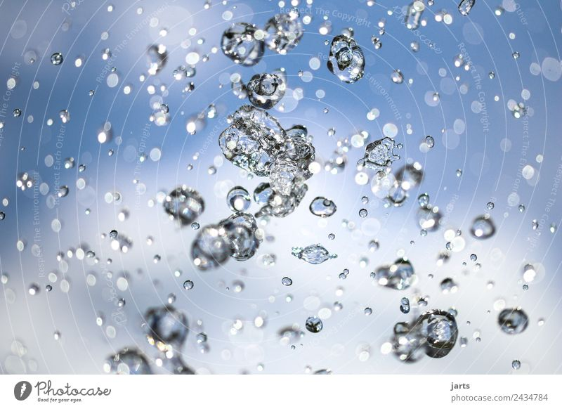 wet II Water Drops of water Sky Clouds Summer Beautiful weather Flying Fluid Fresh Healthy Glittering Wet Natural Positive Blue Nature Refreshment