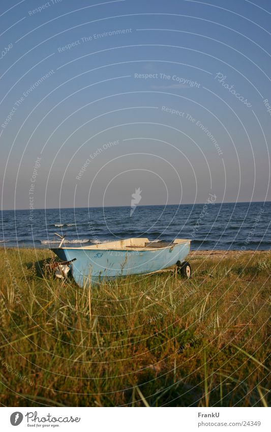 Nature Water Ocean Summer Beach Watercraft Still Life Baltic Sea Dusk Rowboat
