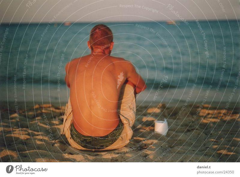 Human being Man Water Ocean Beach Sand Sit Toilet paper