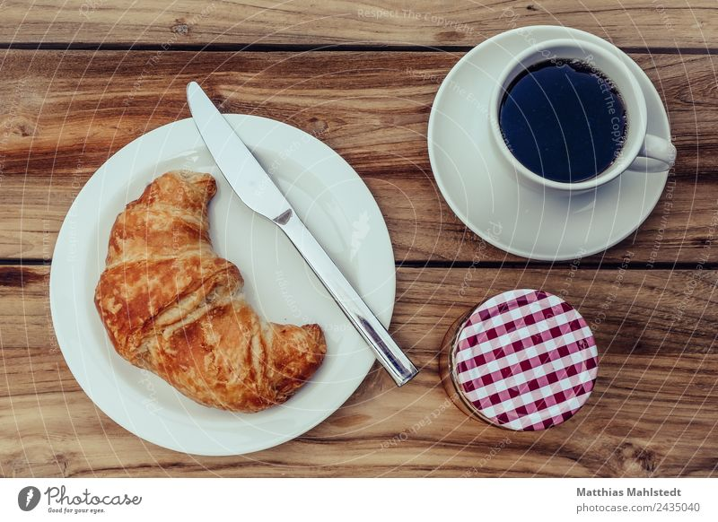Breakfast on Sunday Food Dough Baked goods Croissant Jam Nutrition Vegetarian diet Slow food Beverage Hot drink Coffee Crockery Plate Cup Knives Lifestyle Style