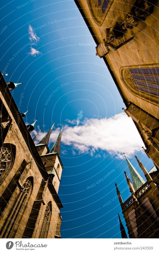 Cathedral St. Marien and the St. Severi Tourism Trip Sightseeing City trip Summer Clouds Beautiful weather Downtown Old town Church Dome Manmade structures