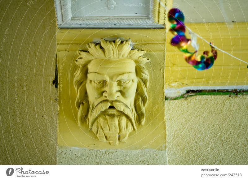 party Interior design Decoration Face Old God Zeus Colour photo Subdued colour Interior shot Deserted Day Deep depth of field Looking Looking into the camera