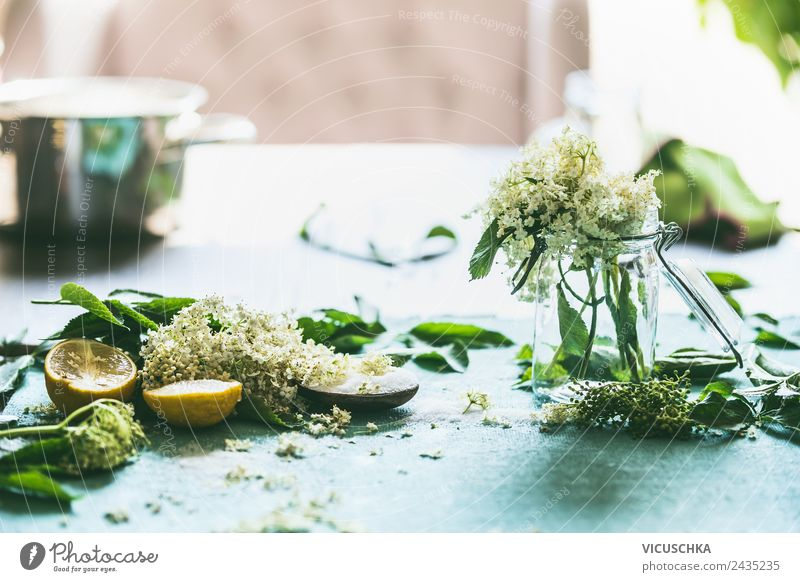elderflower with sugar and lemon on the table Food Jam Nutrition Organic produce Vegetarian diet Diet Crockery Pot Glass Lifestyle Style Design Healthy