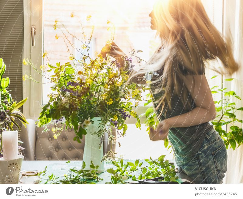Woman Human being Nature Summer Beautiful Flower House (Residential Structure) Joy Window Adults Lifestyle Style Hair and hairstyles Moody Living or residing
