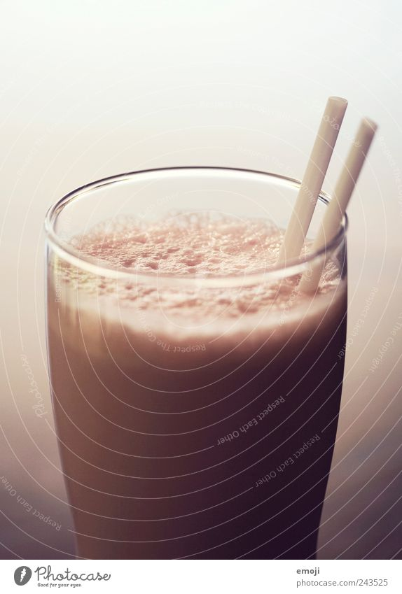 frappé Dairy Products Dessert Beverage Glass Straw Delicious Pink Milkshake 2 Colour photo Interior shot Studio shot Close-up Copy Space top Copy Space bottom