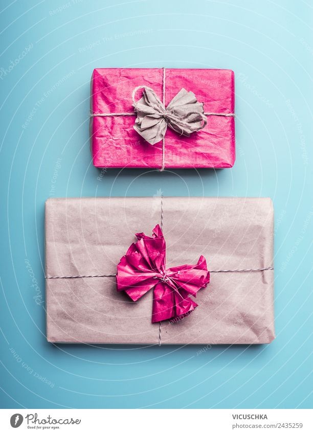 Packed Gifts Shopping Style Design Decoration Feasts & Celebrations Love Blue Pink Turquoise Packaged Packaging kraft paper Colour photo Studio shot