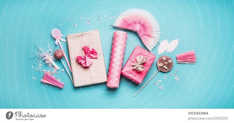 Pink Gifts, Chocolate Lollipops and Decoration Shopping Style Design Joy Table Party Feasts & Celebrations Wedding Birthday Paper Packaging Bow Blue Collection