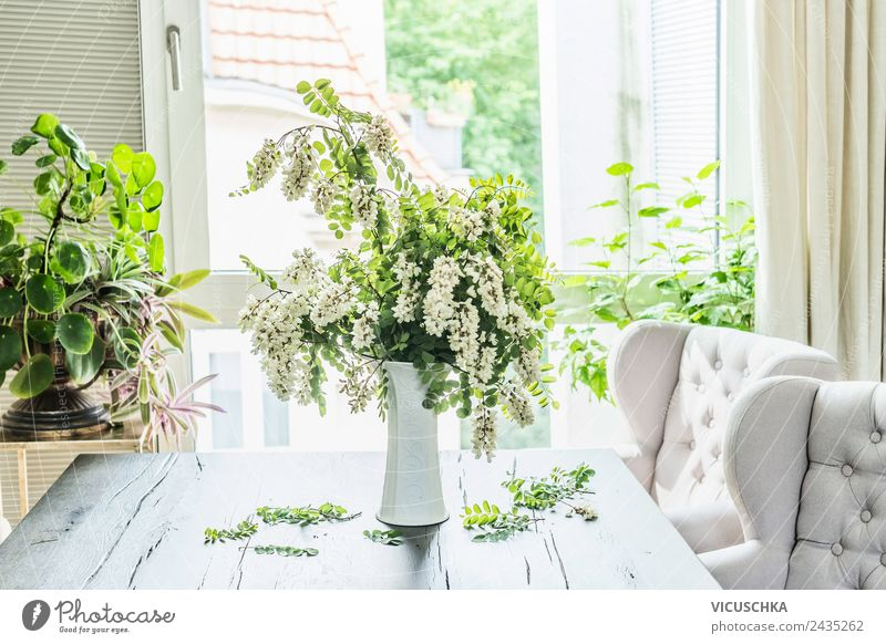 Acacia bouquet on the table in living room Lifestyle Style Design Summer Living or residing Flat (apartment) House (Residential Structure) Dream house Garden