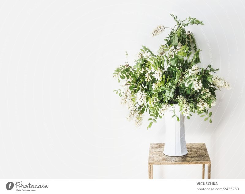 Bouquet of flowers in a vase on a white wall Style Design Life Summer Flat (apartment) House (Residential Structure) Arrange Interior design Decoration