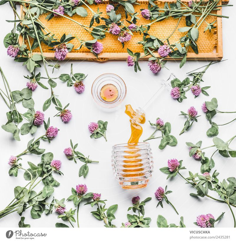 Wildflower honey with flowers and honeycomb Food Nutrition Organic produce Vegetarian diet Diet Crockery Style Design Healthy Medical treatment
