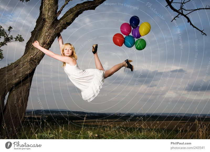 Human being Youth (Young adults) White Tree Feminine Autumn Style Adults Air Blonde Wind Elegant Flying Adventure Natural Aviation