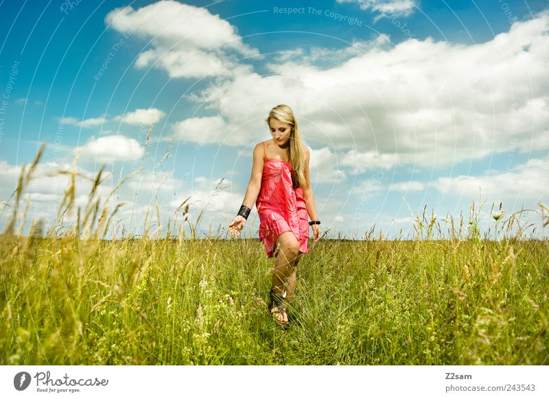 sun child Lifestyle Elegant Relaxation Feminine Young woman Youth (Young adults) 1 Human being 18 - 30 years Adults Nature Landscape Clouds Summer Meadow Dress