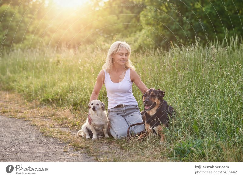 Blond woman with her two dogs in the countryside Woman Human being Dog Summer Animal Face Adults Warmth Love Meadow Grass Happy Friendship Blonde Sit