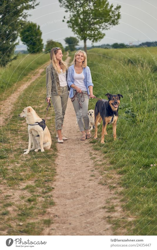 Happy laughing young women walking their dogs Woman Human being Nature Dog Youth (Young adults) Summer Beautiful Animal 18 - 30 years Black Adults Warmth