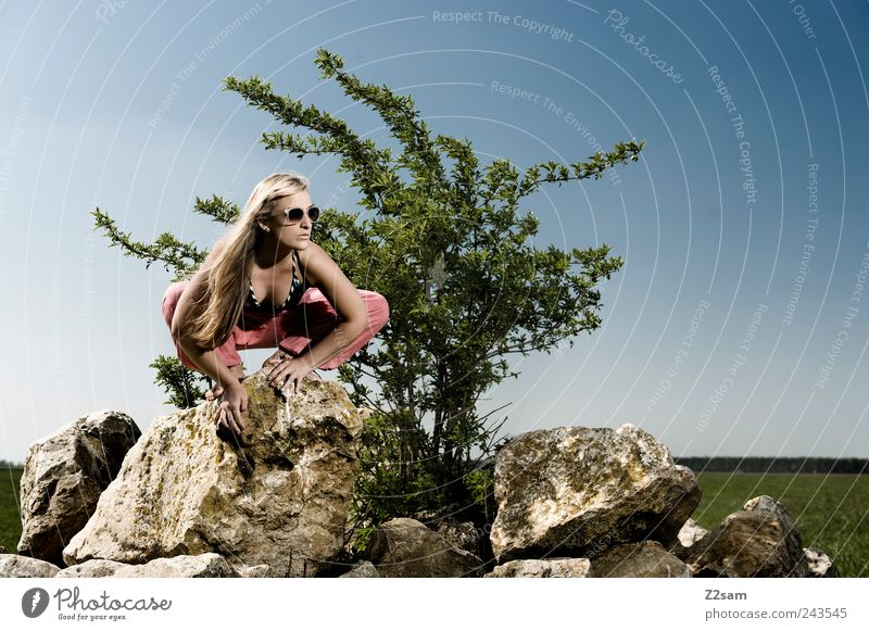 spider Lifestyle Style Relaxation Feminine Young woman Youth (Young adults) 1 Human being 18 - 30 years Adults Nature Landscape Sky Summer Tree Meadow Rock