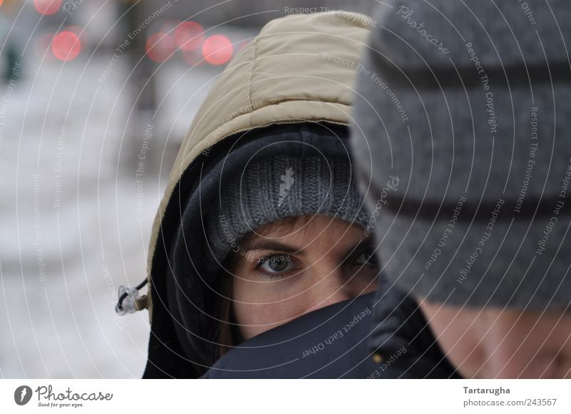 I see something. Human being Eyes 1 2 Jacket Cap Hooded (clothing) Long-haired Observe Freeze Looking Beautiful Cuddly Curiosity Gray Safety Protection