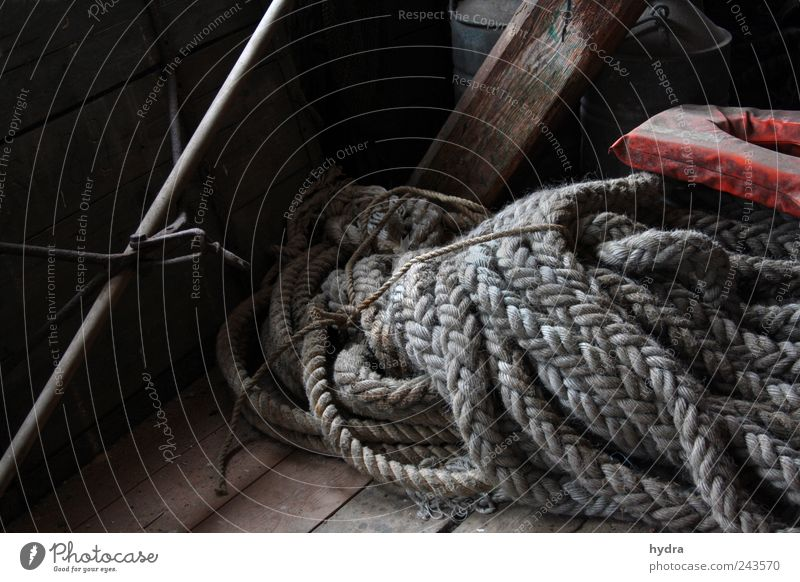 sailor's yarn Navigation Rope Life jacket ropes fishing Fishery Old Brown Gray Calm Idyll Nostalgia Past Transience Time Maritime Tradition wickerwork Plaited