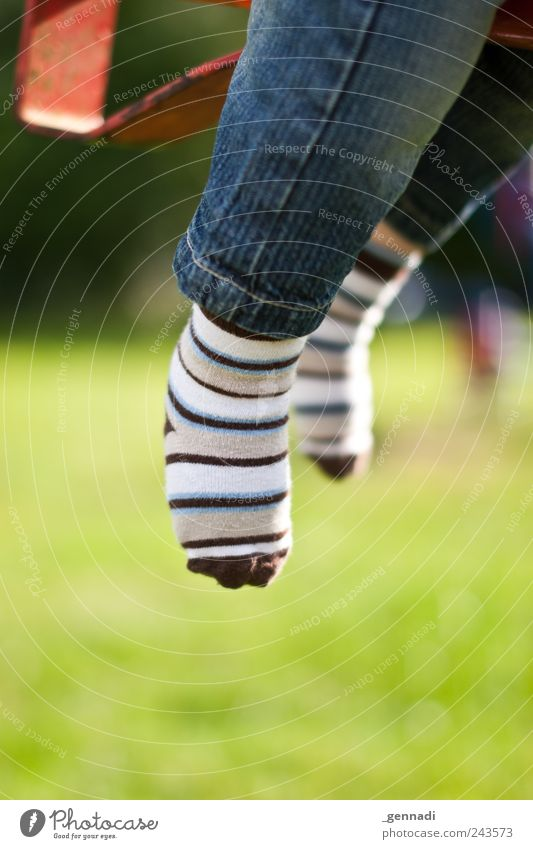 only flying is better Legs Feet 1 Human being Jeans Cloth Stockings Playground Joy Infancy Easy Flying Hover Colour photo Exterior shot Detail Day Light