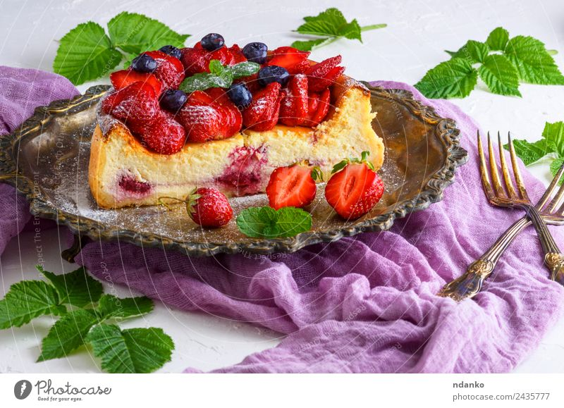 cheesecake made of cottage cheese and strawberries Cheese Fruit Dessert Nutrition Plate Table Leaf Fresh Bright Delicious Green Red White Colour Strawberry