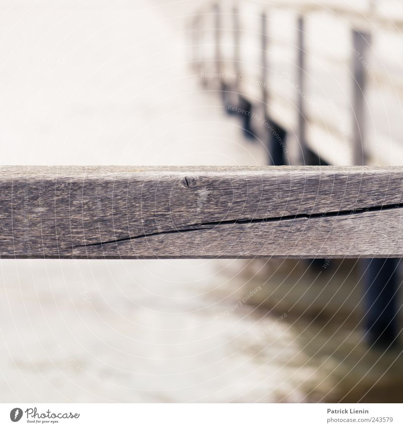No passage Ocean Environment Nature Water Waves Coast Baltic Sea Wood Movement Loneliness Divide Footbridge Wooden board Crack & Rip & Tear Blur Colour photo