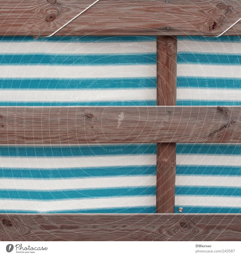 privacy screen Relaxation Calm Meditation Sunbathing Beach bar Stairs Wood Plastic Line Stripe Uniqueness Retro Beautiful Trashy Blue White Exotic Screening