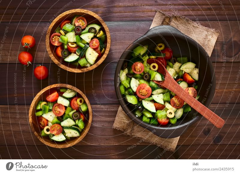 Fresh Salad Dish Fruit Herbs and spices Vegetable Meal Vegetarian diet Lettuce Tomato Horizontal Rustic Raw Snack Italian Basil