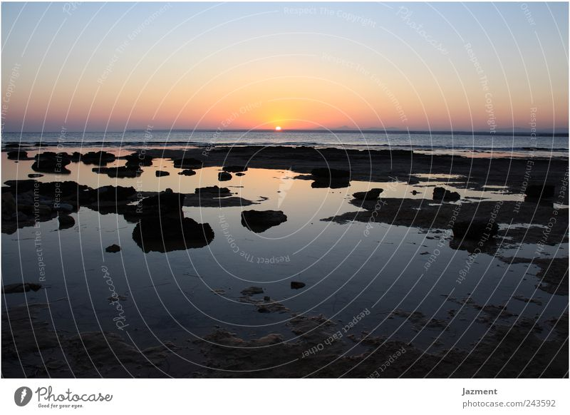 Sunset at Es Trenc Vacation & Travel Summer Ocean Landscape Water Sky Sunrise Happy Romance Wanderlust Colour photo Exterior shot Deserted Copy Space top