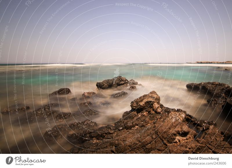 Blue Water Vacation & Travel Green Summer Ocean Loneliness Calm Relaxation Landscape Coast Stone Horizon Brown Rock Waves