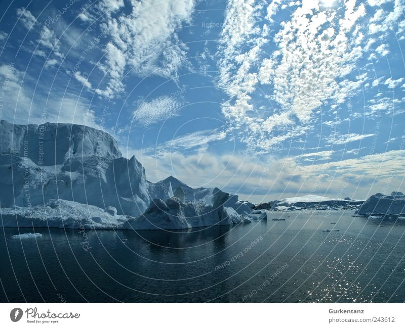 cool water Environment Nature Landscape Elements Water Clouds Climate Climate change Bay Fjord Ocean Calm Dream Greenland Iceberg The Arctic Blue bluish